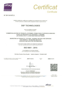 Certificat ISO 2015 DSF Technologies